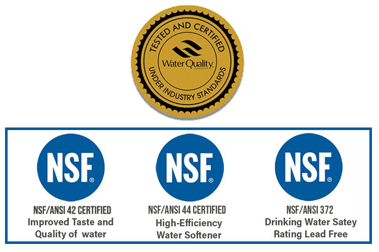 The Hydonex C water softener has been certified by the WQA and NSF