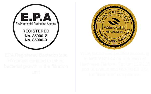 Certified by the WQA and EPA the Hydronex B water Softener protection from bacterial growth